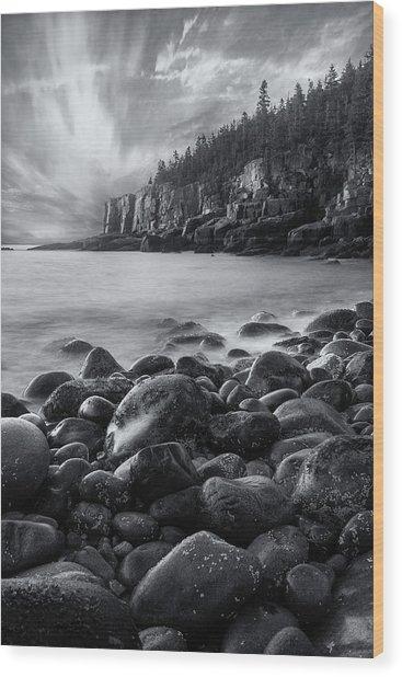 Acadia Radiance - Black And White Wood Print