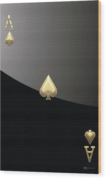 Ace Of Spades In Gold On Black   Wood Print