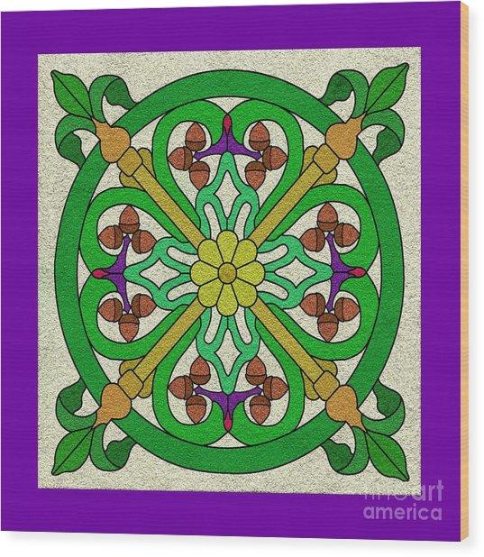 Acorn On Cream/purple Wood Print