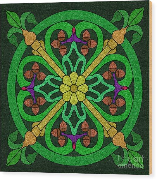 Acorn On Dark Green Wood Print