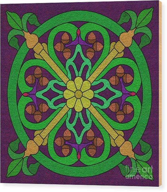 Acorn On Dark Purple 2 Wood Print