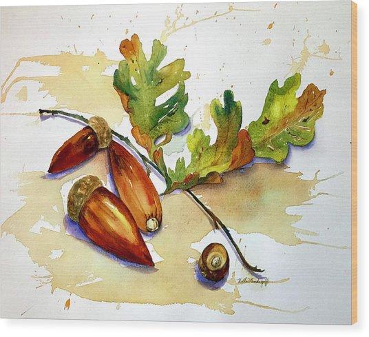 Acorns And Leaves Wood Print