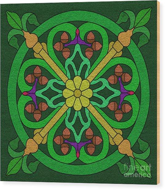 Acorns On Forest Green Wood Print