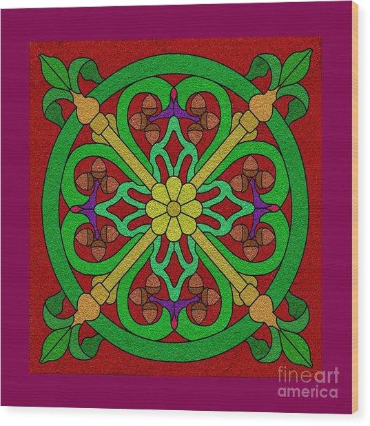 Acorns On Red Wood Print
