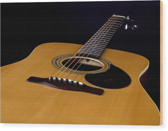 Acoustic Guitar  Black Wood Print