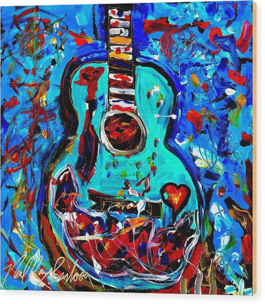 Acoustic Love Guitar Wood Print