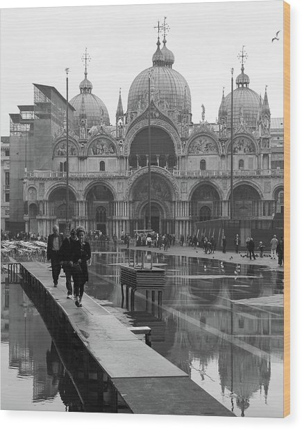 Acqua Alta, Piazza San Marco Wood Print