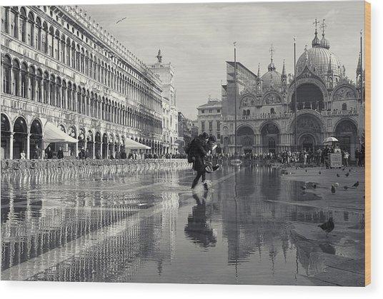 Acqua Alta, Piazza San Marco, Venice, Italy Wood Print