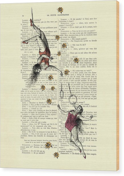 Acrobatics Women Circusact Vintage Illustration On Book Page Wood Print