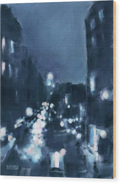 Across 23rd Street Nyc High Line At Night Wood Print