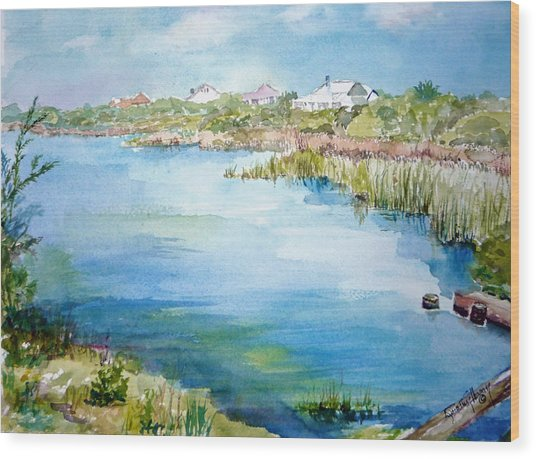 Across The Lake Wood Print by Dorothy Herron