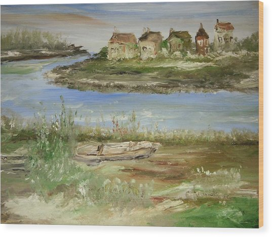 Across The River Wood Print by Edward Wolverton