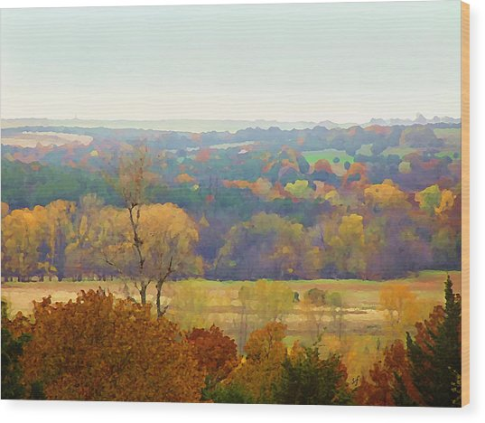 Across The River In Autumn Wood Print