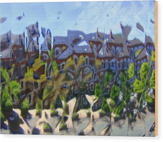 Across The Street Wood Print