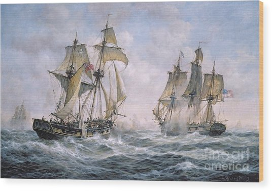 Action Between U.s. Sloop-of-war 'wasp' And H.m. Brig-of-war 'frolic' Wood Print