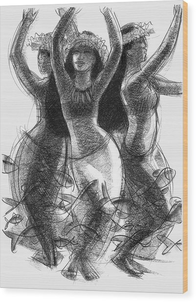 Action Song Dancers With Fish Pareu Wood Print
