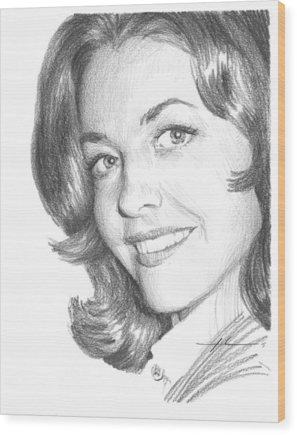 Actress Myrna Fahey Closeup Pencil Portrait Wood Print by Mike Theuer