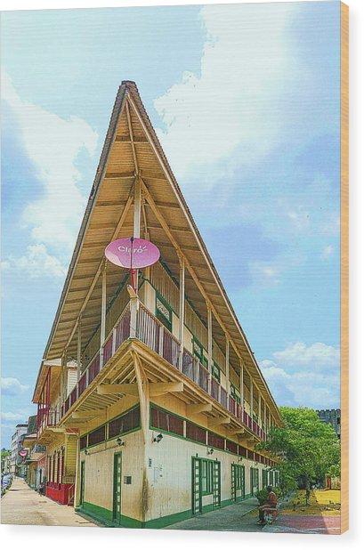 Acute Corner House Wood Print