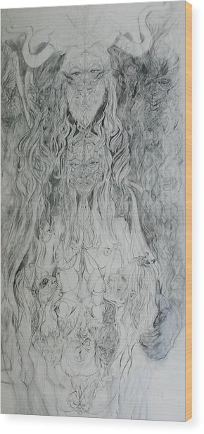Adam And Lilith Wood Print