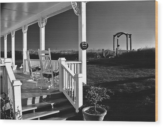Addy Sea Front Porch Wood Print