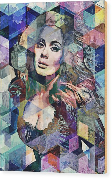 Adele  Wood Print by Sampad Art