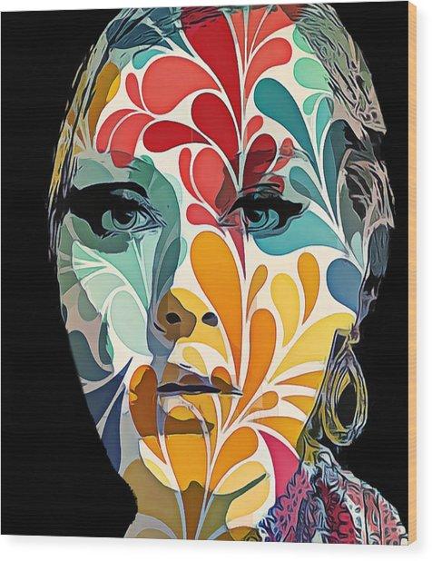 Adelle In Flowers Wood Print