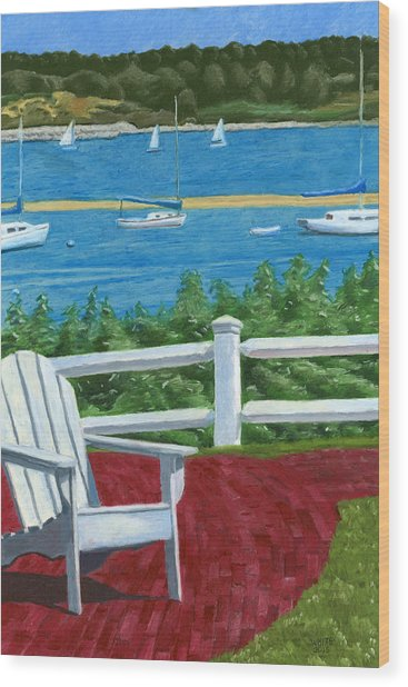 Adirondack Chair On Cape Cod Wood Print