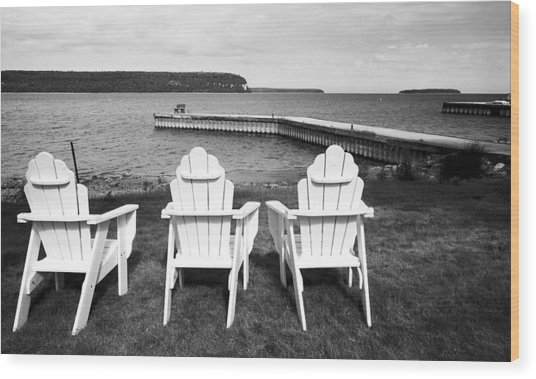 Adirondack Chairs And Water View At Ephriam Wood Print by Stephen Mack
