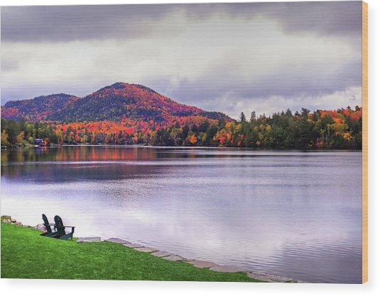 Adirondack Chairs In The Adirondacks. Mirror Lake Lake Placid Ny New York Mountain Wood Print