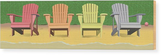 Adirondacks On The Beach Wood Print by Marian Federspiel