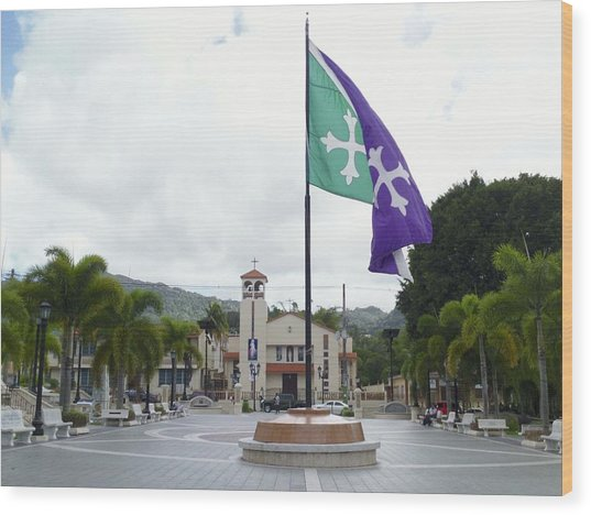 Adjuntas, Puerto Rico Flag Wood Print