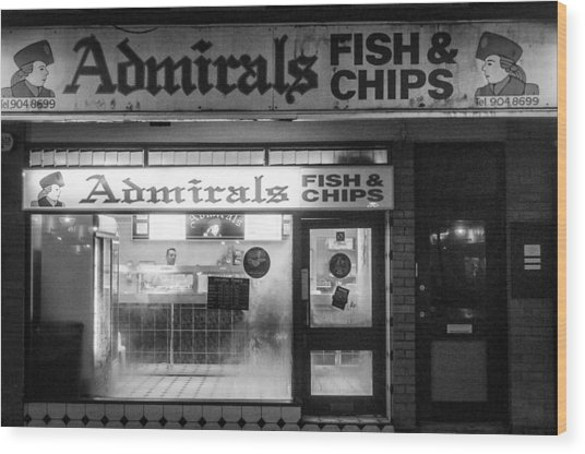 Admirals Fish And Chips Wood Print