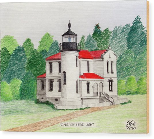 Admiralty Head Light Wood Print by Frederic Kohli