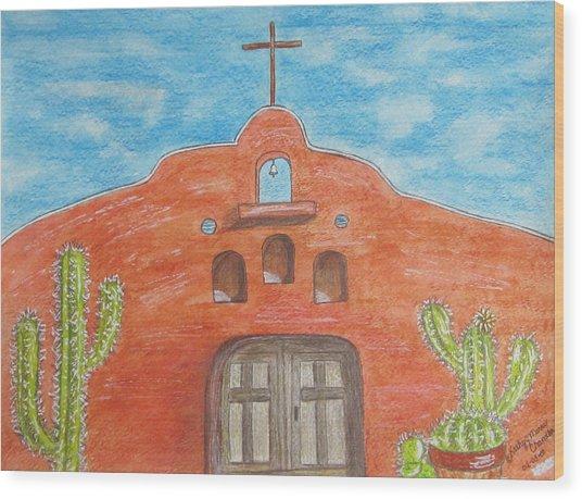Adobe Church And Cactus Wood Print