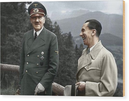 Adolf Hitler Joseph Goebbels Berghof Retreat  Number 2 Agfacolor Heinrich Hoffman Photo Circa 1942 Wood Print