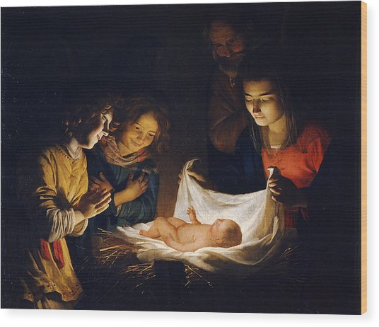 Wood Print featuring the painting Adoration Of The Child by Gerrit van Honthorst