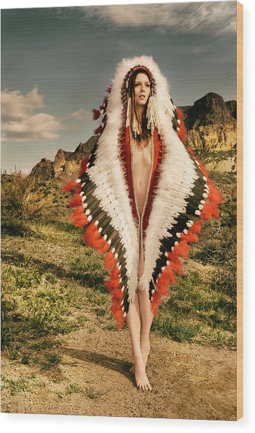 Adorned Feathered Nude Wood Print