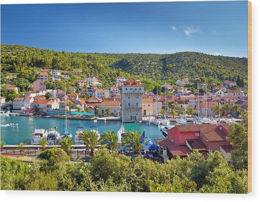 Adriatic Village Of Marina Near Trogir Wood Print