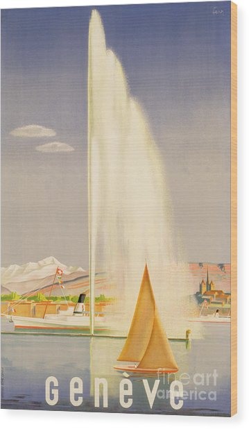 Advertisement For Travel To Geneva Wood Print
