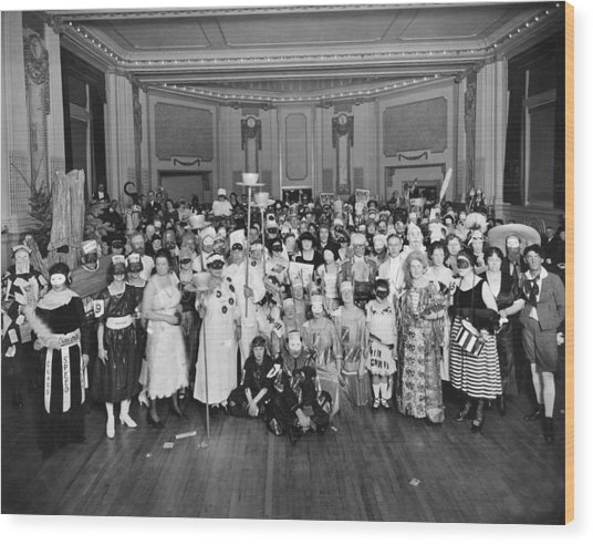 Advertising Costume Party Wood Print