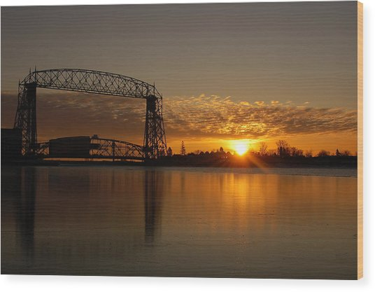 Aerial Bridge In Sunrise Wood Print by Evia Nugrahani Koos