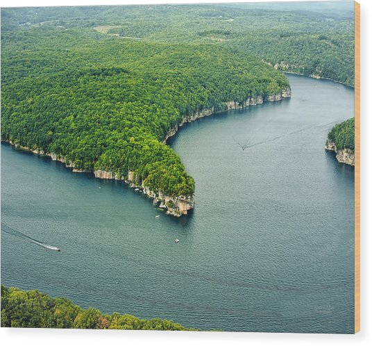 Aerial Image Of  Long Point Cliff Wood Print