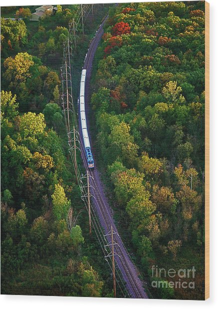 Aerial Of  Commuter Train  Wood Print