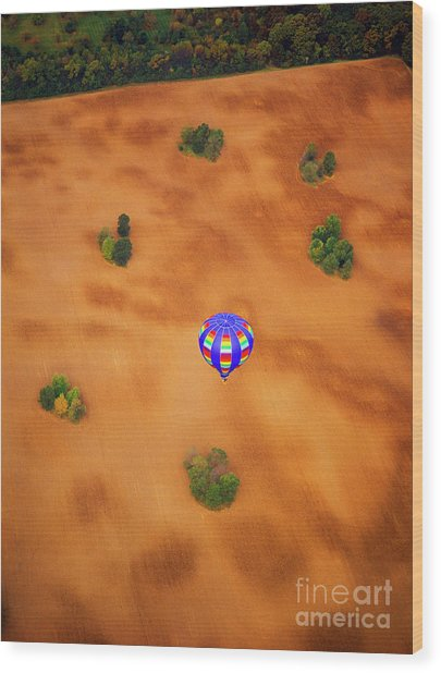 Aerial Of Hot Air Balloon Above Tilled Field Fall Wood Print