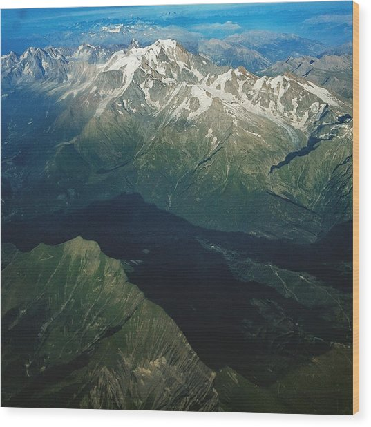 Aerial Photograph Of The Swiss Alps Wood Print