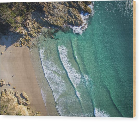 Aerial Shot Of Honeymoon Bay On Moreton Island Wood Print
