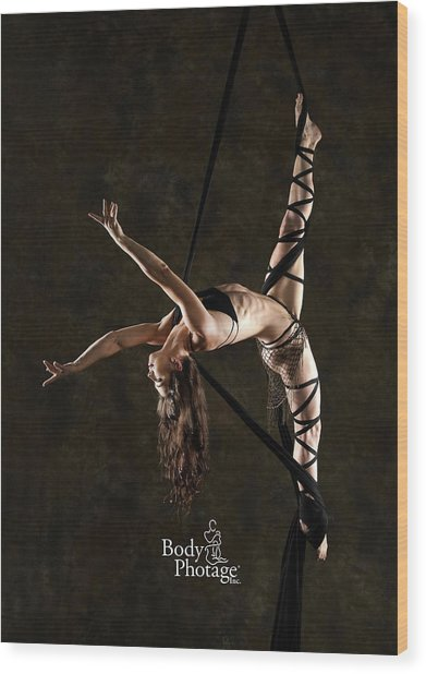 Aerial Splits With Black Silks Wood Print