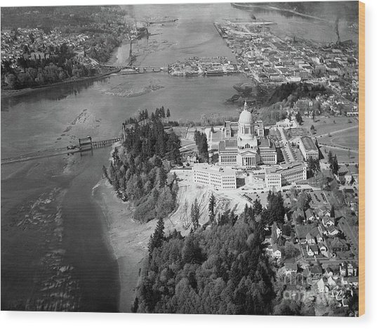 Aerial View Northward Over Olympia Wood Print