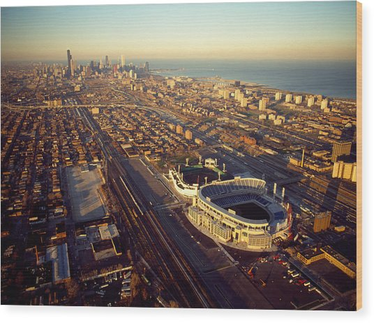 Aerial View Of A City, Old Comiskey Wood Print