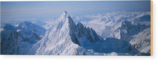 Aerial View Of A Mountain, Denali Wood Print